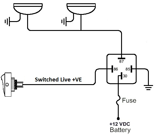 Simple Relay Switch Wiring Diagram on 5 pin relay wiring diagram
